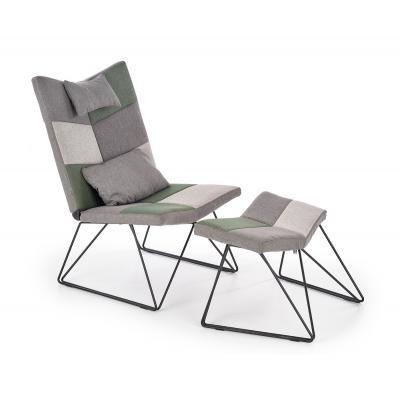 Fotel lábtartóval, zöld és szürke - DOMINO